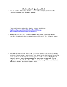 The Great Gatsby Chapter 2 Close Reading / Analysis Text-dependent Questions