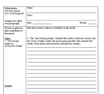 The Great Gatsby: Chapter 2 Close Reading Cornell Notes Pa