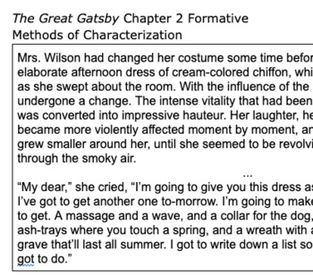 The Great Gatsby Chapter 2 Close Reading Quiz