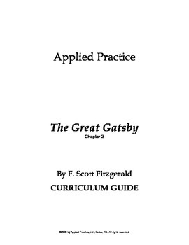 The Great Gatsby Chapter 2 Curriculum Guide by Applied Practice
