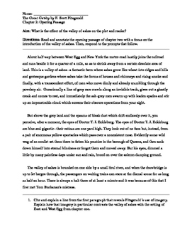 The Great Gatsby Chapter 2 Passage Close Reading Analysis