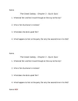 The Great Gatsby - Chapter 2 - Quick Quiz
