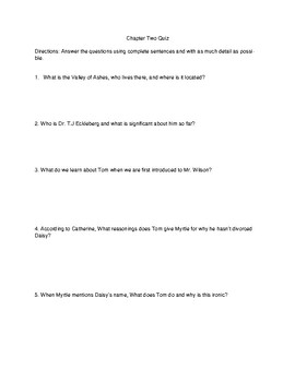 The Great Gatsby: Chapter 2 Quiz