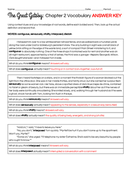 The Great Gatsby Chapter 2 Vocabulary in Context Practice Worksheet