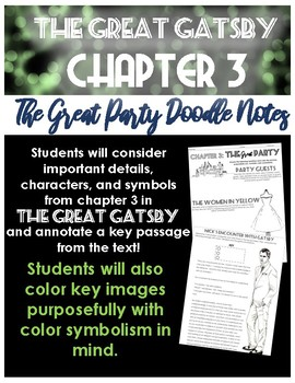 The Great Gatsby Chapter 3 Activity: The Great Party Colorful Notes