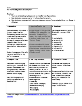 The Great Gatsby - Chapter 3 Choice Boxes