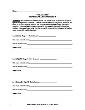 The Great Gatsby Chapter 3 Curriculum Guide by Applied Practice