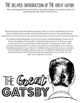 The Great Gatsby Chapter 3 Doodle Notes - Creative & Engaging Activity