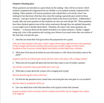 The Great Gatsby Chapter 3: Questions, Quiz, Study Guide, Activities