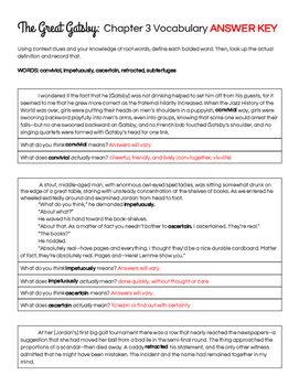 The Great Gatsby Chapter 3 Vocabulary in Context Practice Worksheet