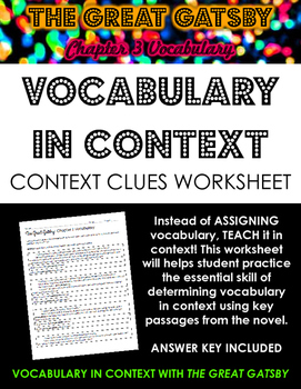 The Great Gatsby Chapter 3 Vocabulary in Context Practice