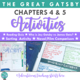 The Great Gatsby: Chapter 4 & 5 Lessons & Activities {EDITABLE}