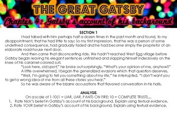 The Great Gatsby Chapter 4 Close Read Stations or Group Work Activity