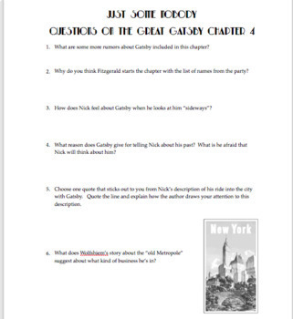 The Great Gatsby Chapter 4: Questions, Quiz, Study Guide, Activities