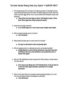 The Great Gatsby Chapter 4 Quiz and Answer Key