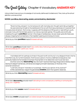 The Great Gatsby Chapter 4 Vocabulary in Context Practice Worksheet