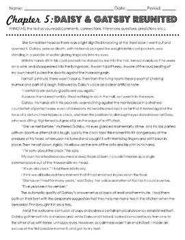 The Great Gatsby Chapter 5 Close Read and Point of View Scene Rewrite