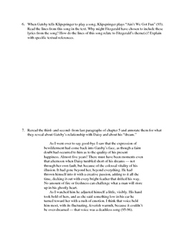 The Great Gatsby Chapter 5 Close Reading / Analysis Text-dependent Questions