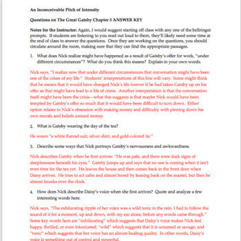 the great gatsby chapter 5 questions quiz study guide activities rh teacherspayteachers com the great gatsby study guide answers chapter 5 quizlet Great Gatsby Party