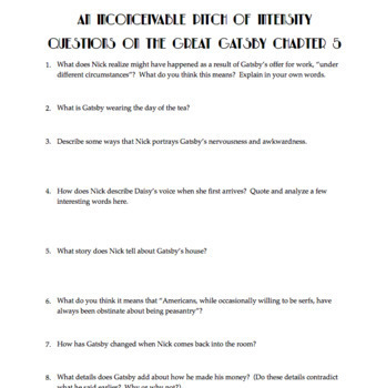 the great gatsby chapter 5 questions quiz study guide activities rh teacherspayteachers com the great gatsby advanced placement teaching unit study guide answers Great Gatsby Background