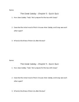 The Great Gatsby - Chapter 5 - Quick Quiz