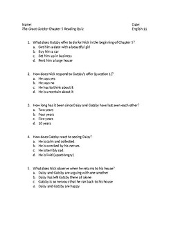 The Great Gatsby Chapter 5 Reading Quiz