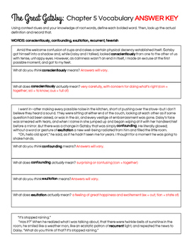 The Great Gatsby Chapter 5 Vocabulary in Context Practice Worksheet