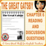 The Great Gatsby Chapter 6 Comprehension and Analysis Activity with Key