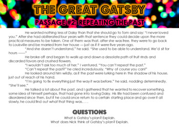 The Great Gatsby Chapter 6 Close Read Stations or Group Work Activity