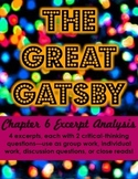 The Great Gatsby Chapter 6 Excerpt Analysis (Group work or close reads)