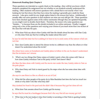 the great gatsby chapter 6 questions quiz study guide activities rh teacherspayteachers com the great gatsby study guide questions and answers chapter 7 great gatsby chapter questions answers