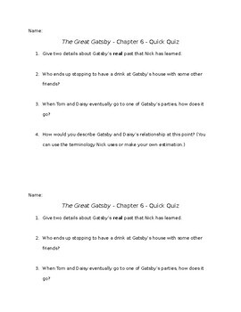 The Great Gatsby - Chapter 6 - Quick Quiz