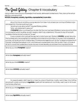 The Great Gatsby Chapter 6 Vocabulary in Context Practice Worksheet