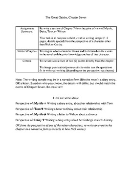 The Great Gatsby: Chapter 7 Mini Assignment