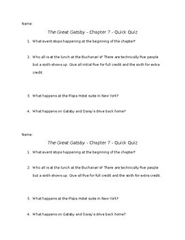 The Great Gatsby - Chapter 7 - Quick Quiz