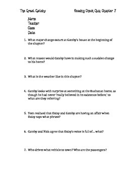 The Great Gatsby Chapter 7 Quiz and Answer Key