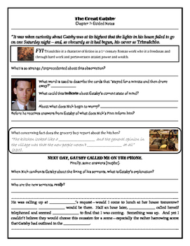 The Great Gatsby: Chapter 7 Study Guide