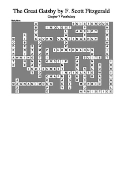 The Great Gatsby - Chapter 7 Vocabulary Crossword