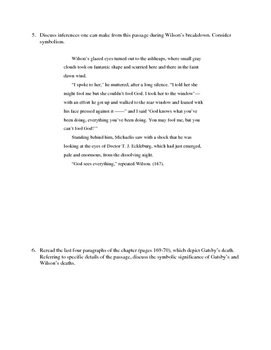 The Great Gatsby Chapter 8 Close Reading / Analysis Text-dependent Questions