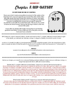 The Great Gatsby Chapter 8 Obituary, Eulogy, or Elegy for Gatsby