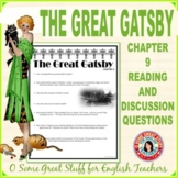 The Great Gatsby Chapter 9 Comprehension and Analysis Activity with Key