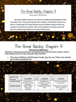 The Great Gatsby: Chapter 9 Discussion Activity