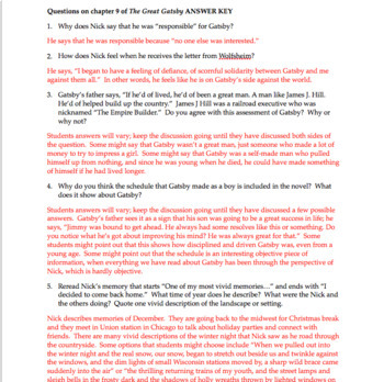 the great gatsby chapter 9 questions quiz study guide activities rh teacherspayteachers com the great gatsby study guide questions and answers quizlet great gatsby study guide question answers