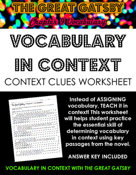 The Great Gatsby Chapter 9 Vocabulary in Context Practice Worksheet