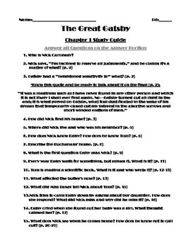 The Great Gatsby Chapter One Study Guide (Answer Key Included)