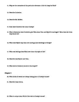 The Great Gatsby Chapter Questions