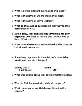 The Great Gatsby Chapter Quizzes