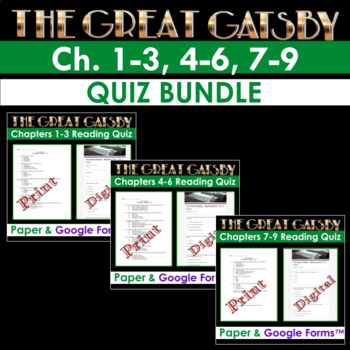 The Great Gatsby - Chapter Reading Quiz Discounted Bundle (Ch. 1-3, 4-6, 7-9)