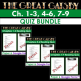 The Great Gatsby: Chapter 1-3, 4-6, 7-9 Quiz Bundle[Print & Digital Google Form]