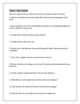 The Great Gatsby Chapter Study Guides with Answer Keys and Vocabulary
